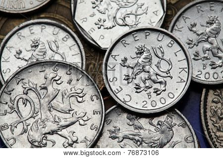 Coins of the Czech Republic. Bohemian heraldic lion depicted on old Czech heller coins.