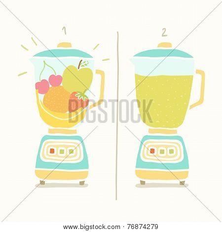 Blender making fruit smoothie.