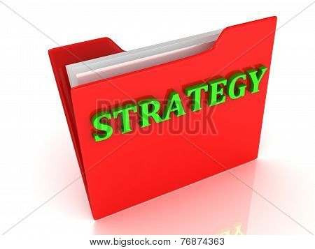 Strategy Bright Green Letters On A Red Folder