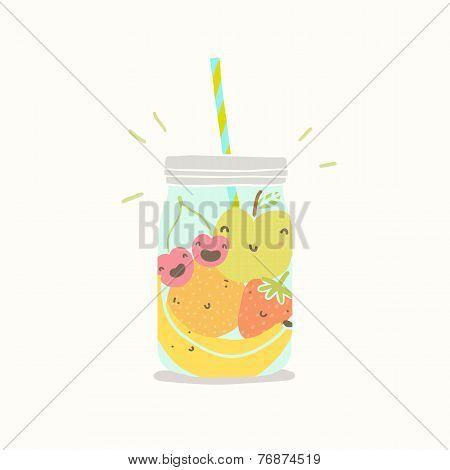 Fruits in smoothie jar.