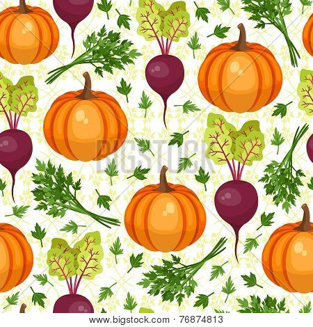 Assorted vegetables seamless pattern