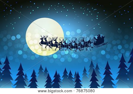 Christmas background with Santa driving his sleigh
