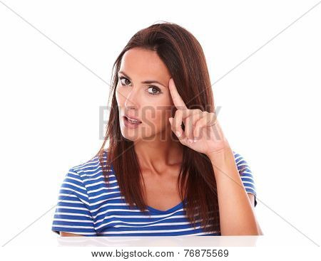 Pretty Hispanic Female Wondering About A Question