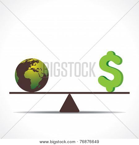 earth or money on weighing concept