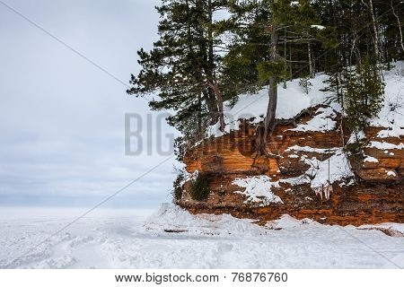 Frozen Lake Superior Shore With Copy Space