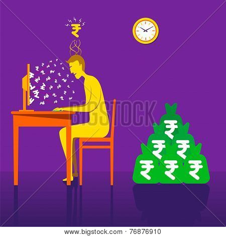 on-line earning rupee or money with online business concept vector