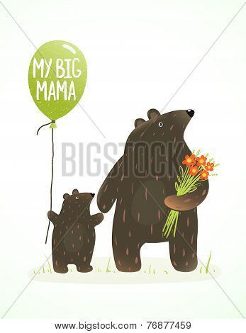 Mother Bear and her Baby Childish Animal Cartoon