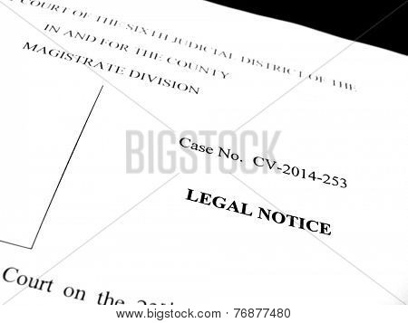 Detail of legal papers a notice of lawsuit