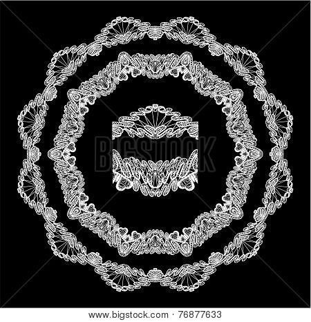 Round Frame - Floral Lace Ornament - White On Black Background