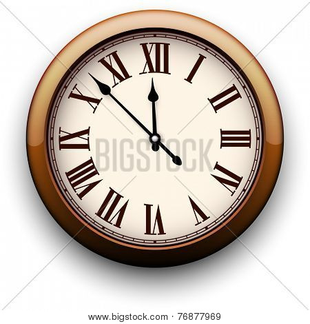 Old clock with roman numbers. Vector illustration.