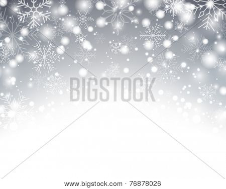 Silver winter abstract background. Christmas background with snowflakes. Vector.