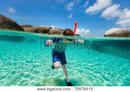 Split of above and underwater photo of a cute boy swimming and snorkeling in ocean