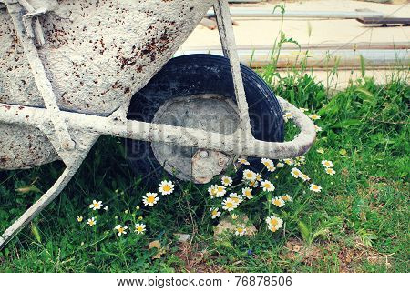 Rusty Metal Wheelbarrow