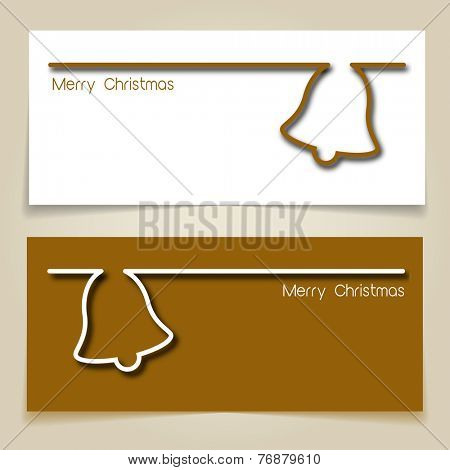 Christmas banners brown and white, with simple continuous line and drop shadow  creating a Christmas jingle bell. EPS10 vector format