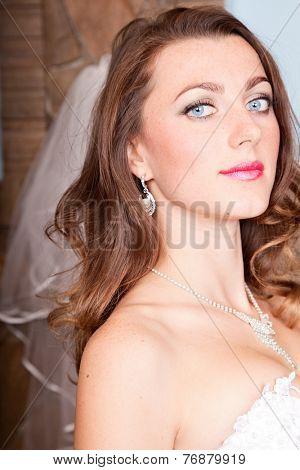 portrait of attractive young bride. indoor shot