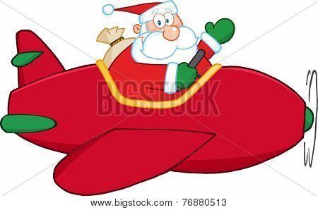 Santa Claus Flying A Plane And Waving