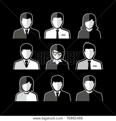 People icons. Business people. Avatar flat design icons. White business people avatars on black background.