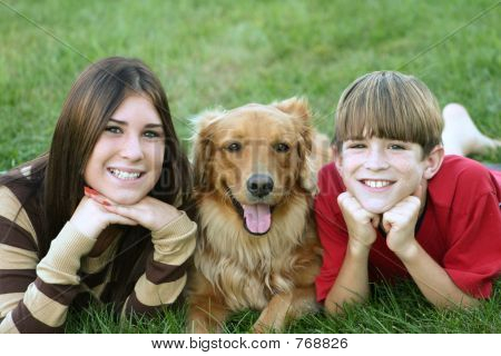 Older Kids with Dog