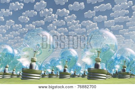 Multitude of human head shaped bulbs under puzzle clouds