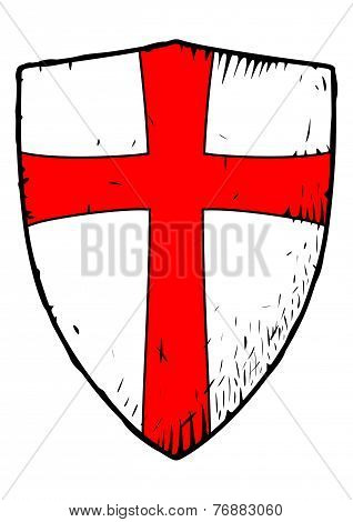 Templar Shield With A Cross