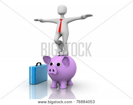 3d Person And Piggy Bank