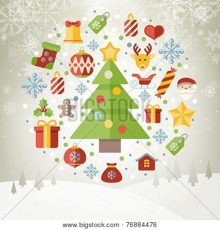 Vintage Christmas Greeting Card, Icons And Symbols, Christmas Tree, Snowflakes, Gift Box, Santa Elem