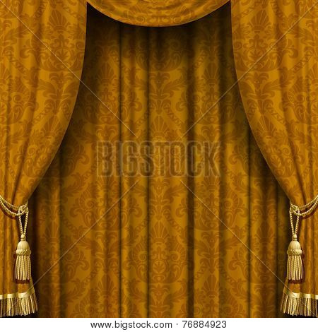 Vector image of golden curtain with Baroque ornament. Square theater background. Artistic poster
