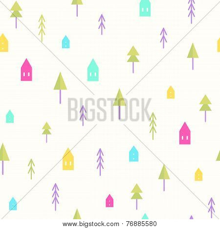 Small houses and trees pattern.