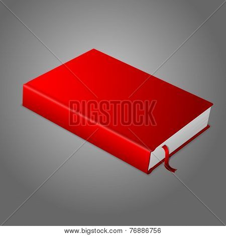 Realistic red blank hardcover book with bookmark.