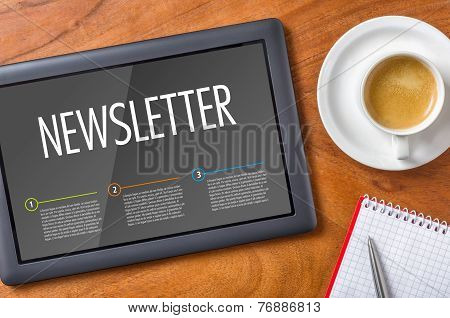 Tablet PC on a desk - Newsletter