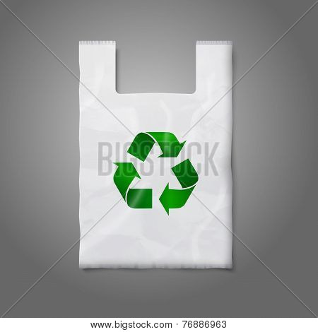Blank white plastic bag with green recycling sign, isolated on grey for your design and branding. Ve