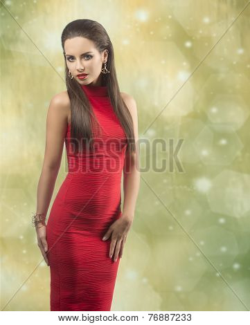Woman With Sexy Red  Dress