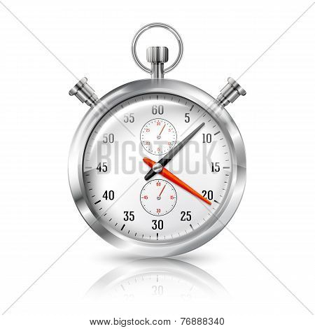 Silver bright stopwatch clock with reflection, isolated on white background. Vector