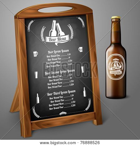 Menu template on chalkboard - for beer and alcohol. Vector
