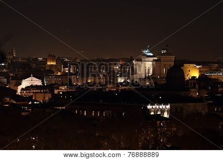 Altar Of The Fatherland At Night In Rome