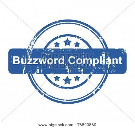 Buzzword Compliant business concept stamp with stars isolated on a white background.