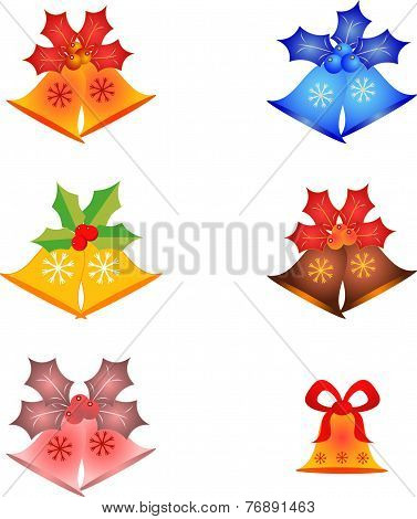 Isolated Christmas Bell and Mistletoe Vectors