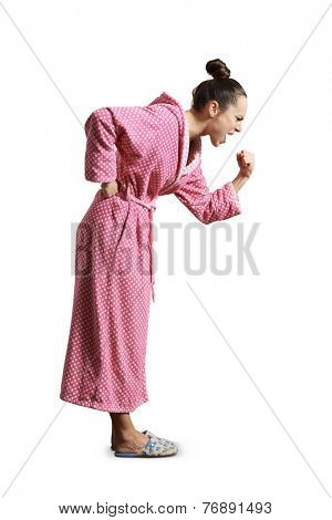 angry screaming woman looking down and clenching her fist. isolated on white background
