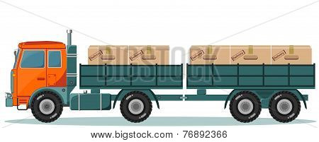 Truck With Cargo Boxes on Trailer