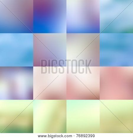 Set of abstract colorful blurred backgrounds