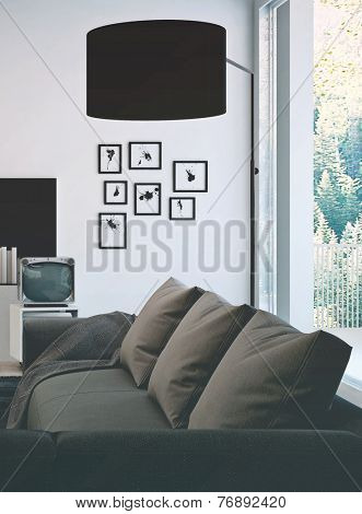 3D Rendering of Architectural living room area with simple gray couch and black lamp shade, Surrounded by decorated white wall and glass windows.