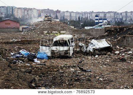 debris and dilapidated cars