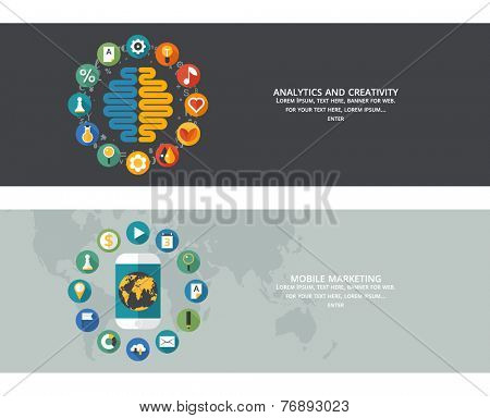 Set of flat design concept images for infographics, business, web, education, mobile marketing