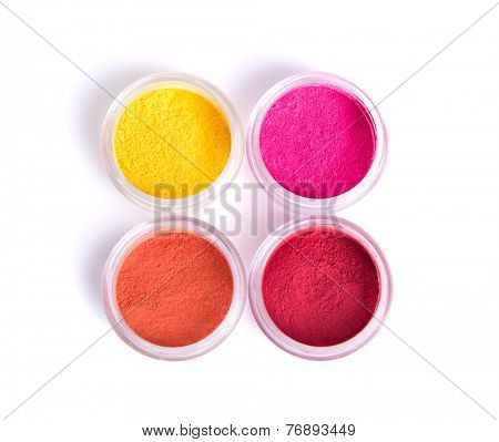 Matte mineral eye shadows, top view isolated on white background