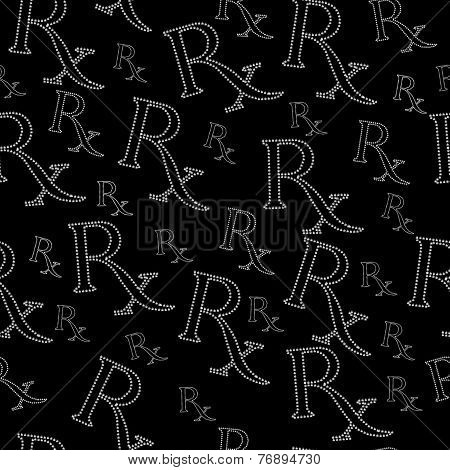 Black And White Prescription Symbol Made From Marijuana Leaves Pattern Repeat Background