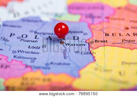 Red Push Pin On Map Of Poland