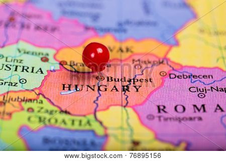 Red Push Pin On Map Of Hungary