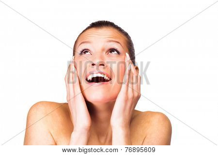 A young woman has problems with the skin. Isolated on white background