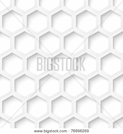 White paper hexagon seamless pattern background