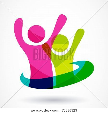 Vector Logo Design Template. Colorful Abstract Happy People Illustration. Concept For Social Network